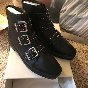 Urban outfitters black strap boots
